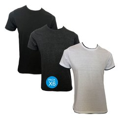 ART 11454  REMERA DOBLE CUELLO COMBINADA ESC O. PACK X6