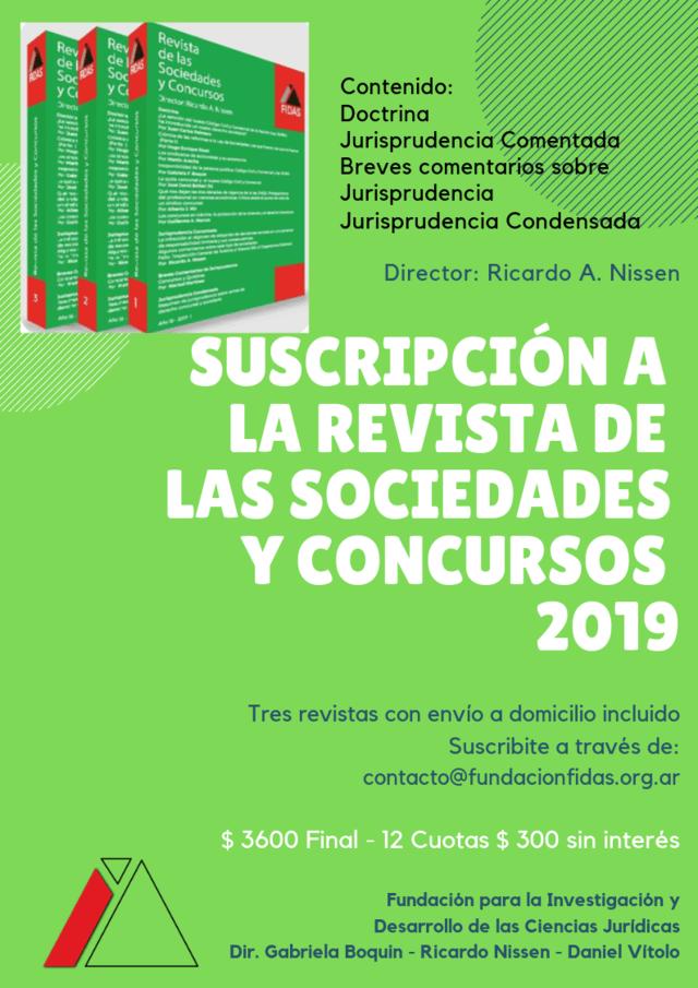 Suscripcion 2019 Revista De Las Sociedades Y Concursos