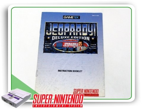 Manual Jeopardy Deluxe Edition Original Super Nintendo Snes