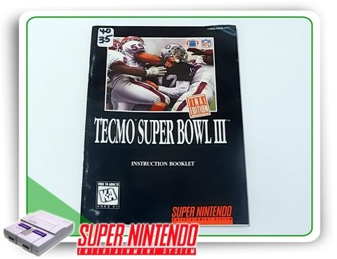 Manual Tecmo Super Bowl 3 Original Snes Super Nintendo