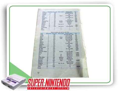Manual Final Fantasy 2 Original Super Nintendo - Sem Capa - comprar online