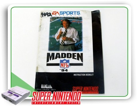 Manual Nfl Madden 94 Original Super Nintendo Snes