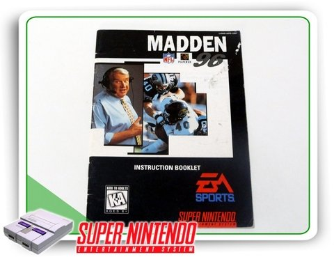 Manual Nfl Madden 96 Original Super Nintendo Snes