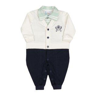 Macacão Longo Bebê Menino Azul Marinho e Branco - Marine 843cd874d39