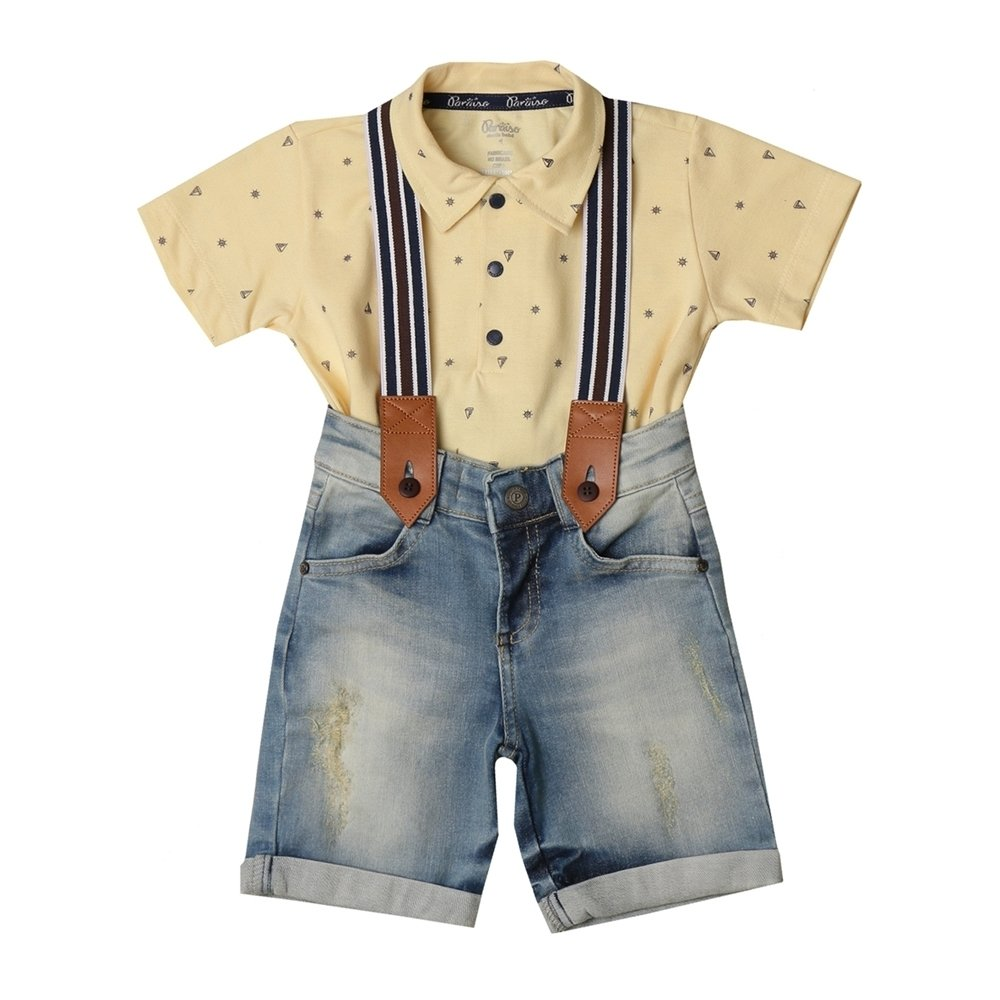 Conjunto Infantil Menino Camisa Pólo Manga Curta + Bermuda Jeans +  Suspensório 9499b2222c313