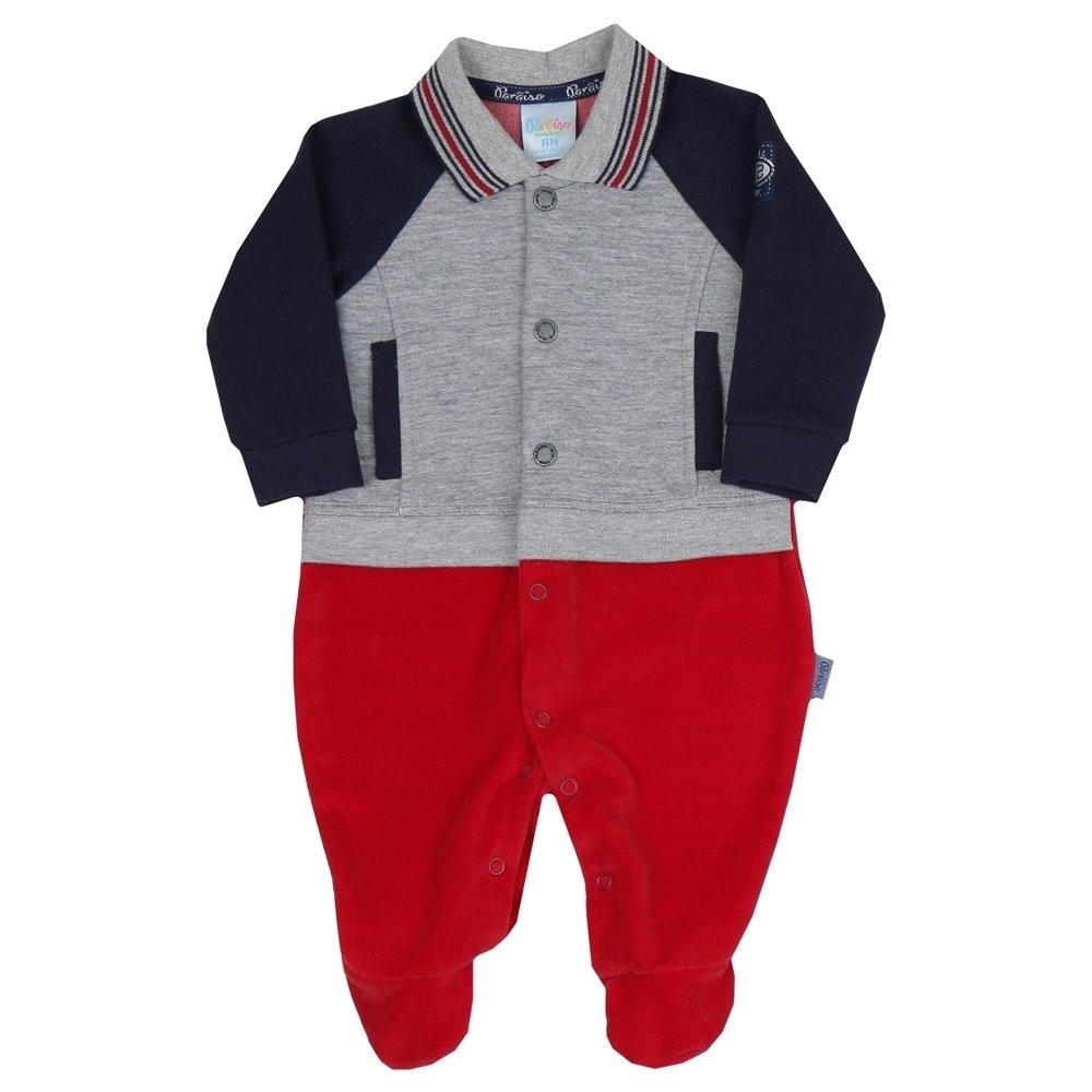 Macacão Longo Bebê Menino em Plush Vermelho e Matelassê Cinza e Preto 7a32efa2112