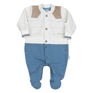 Macacão Longo Bebê Menino Recém Nascido Azul e Branco + Saco de Dormir  Saída de Maternidade 91b81411a5d