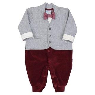 Macacão Bebê Menino em Plush e Detalhe Blazer Cinza com Gravata Borboleta +  Manta em Plush 561c9cb286a