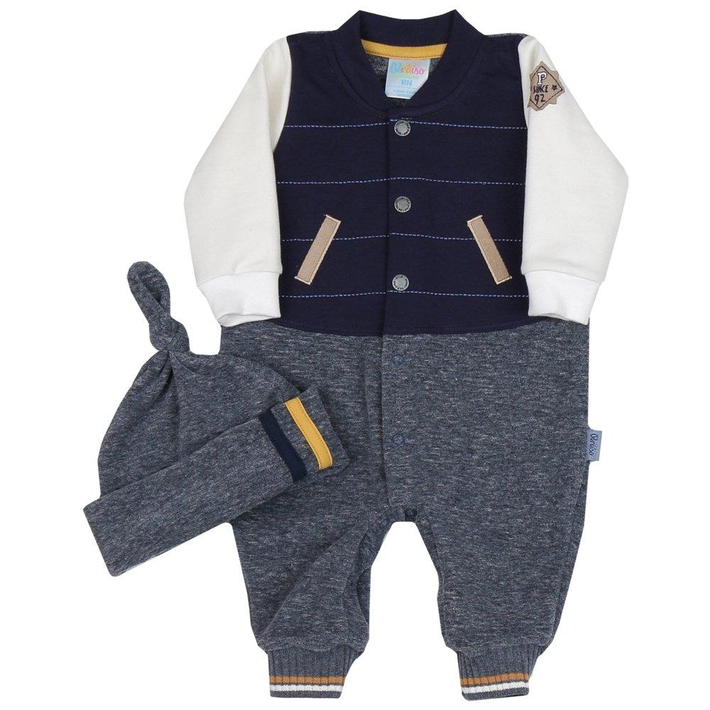 fca06470d9 Macacão Longo Menino Bebê Azul Marinho e Cinza + Touca + Manta Saída de  Maternidade