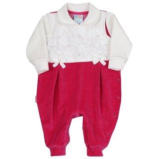 Macacão Longo Bebê Menina em Plush Marsala e Branco 175c5091992