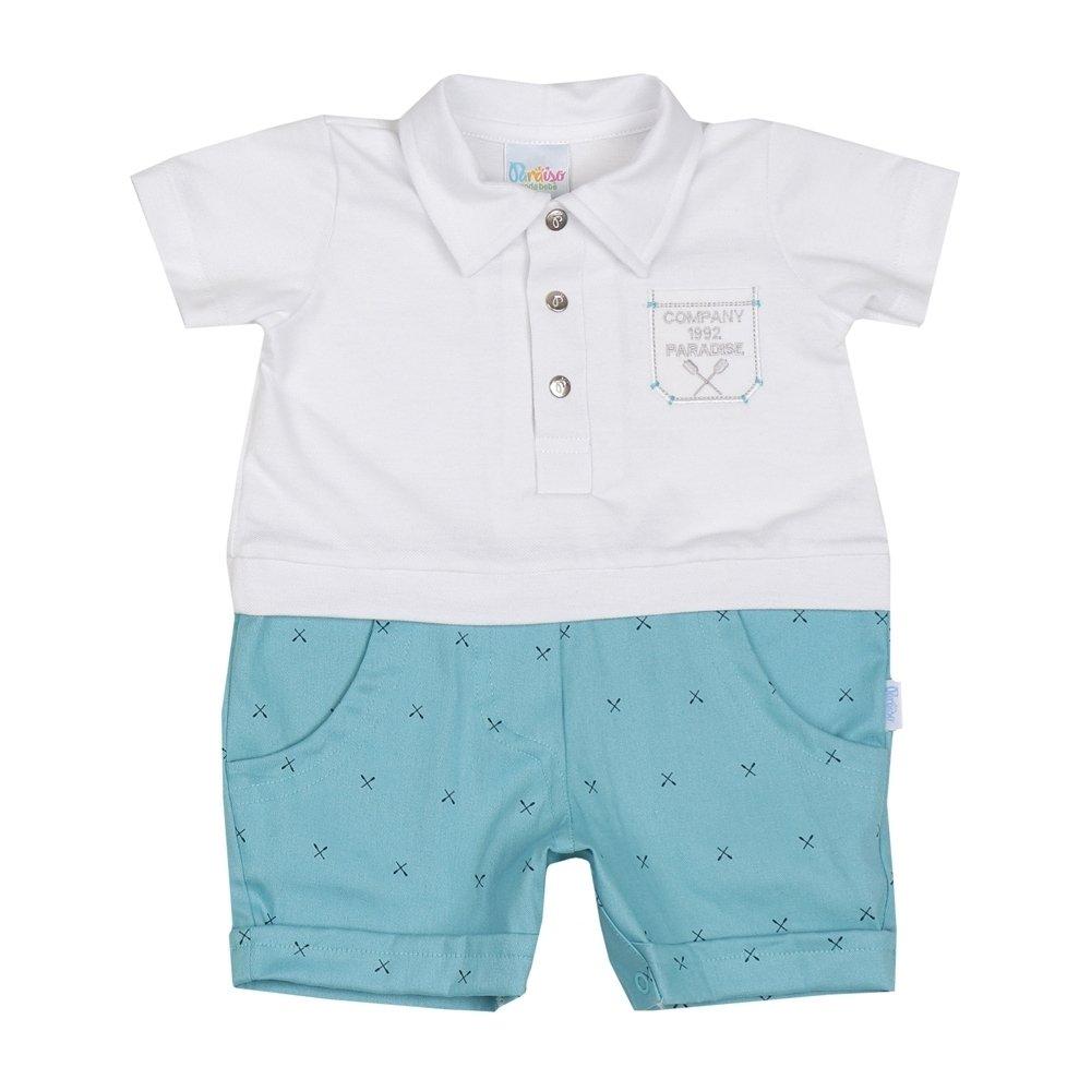 Macacão Verão Bebê Menino Branco e Azul Claro 637359a3b5d