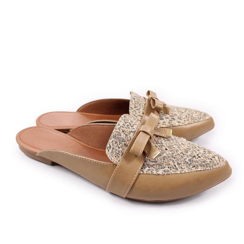 51497df52 Sapato Mule Nude Animal Print desfocado Tamanho Especial 41 a 43