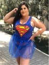 FANTASIA PLUS SIZE SUPERGIRL CINDERELLA FOOT NO CARNAVAL 2020