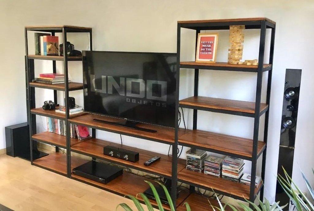 Mueble Tv Rack Estantes Biblioteca Industrial Hierro Madera