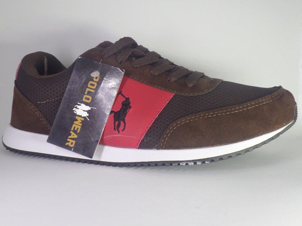 6a31ae43733  Tênis Polo Ralph Lauren ( Marrom e Vermelho )