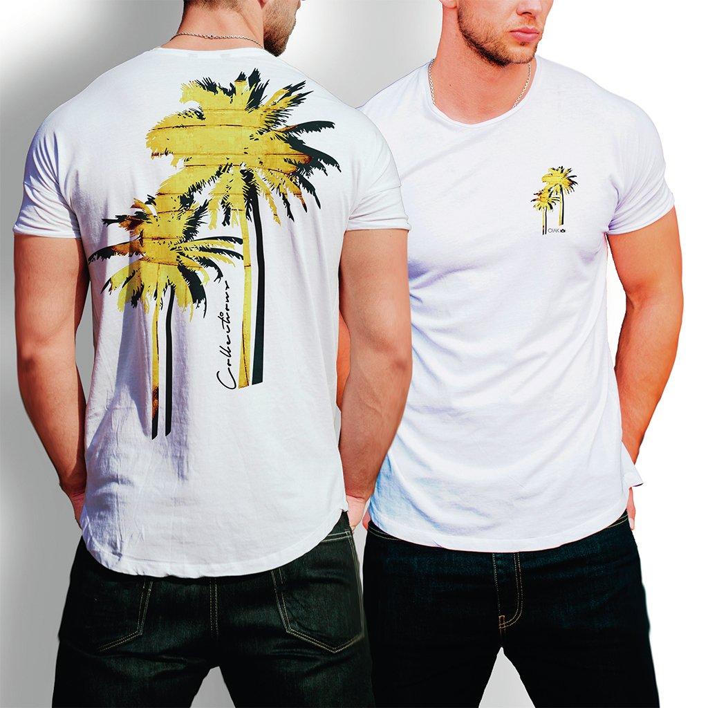 Camiseta Com Palmeiras Amarela - branca fc8773fec019b