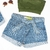 Short Feminino Jeans Hot Pants Laço