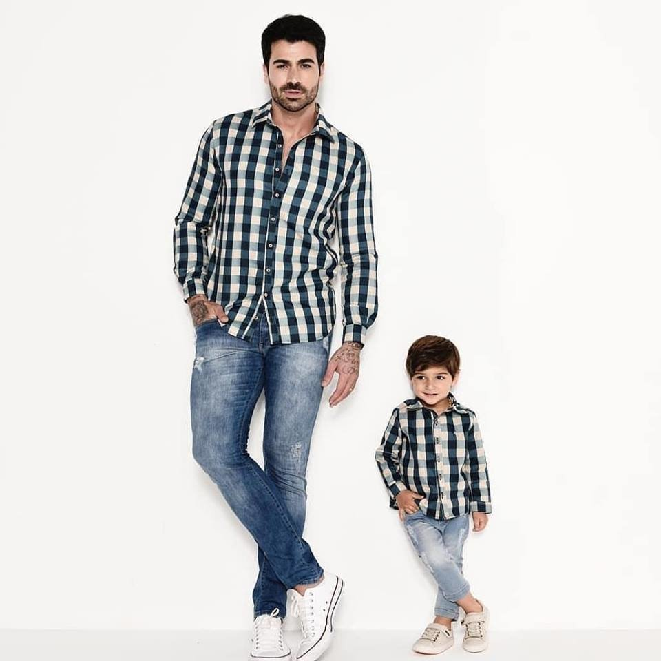 f7af2a19af51c2 Kit camisa Tom - Tal pai, tal filho (duas peças)   Xadrez Verde e Bege