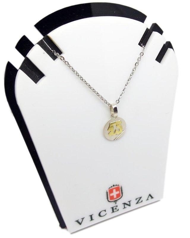 planes autor Púrpura  Medalla 15 Años - Plata Y Oro - 13mm - Grabado + Cadena - B