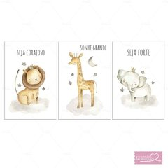 SAFARI AGUARELA PLACAS DECORATIVAS INFANTIL