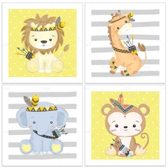 ANIMAIS SAFARI TRIBAL PLACAS DECORATIVAS MENINO - comprar online