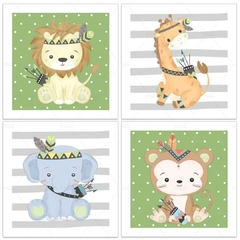 ANIMAIS SAFARI TRIBAL PLACAS DECORATIVAS MENINO na internet