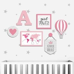 VIAGEM PLACAS DECORATIVAS MDF INFANTIL MAPA GIRLS RULE GIRL POWER LOVE - comprar online
