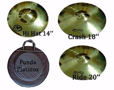 Set Platillos Cyp Hi Hat 14 + Crash 18 + Ride 20 + Funda Lpd