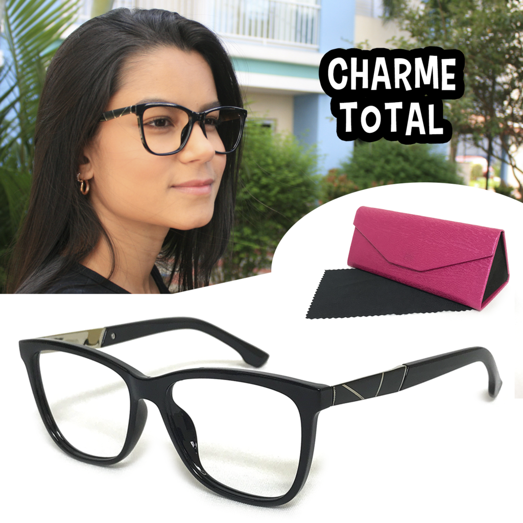 18038051f0613 Armação Oculos Feminino C Lente Sem Grau Luxo Charmosa Preto 7104