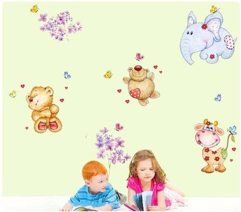 Vinilos Decorativos Pared Infantiles Animales  Abc1039