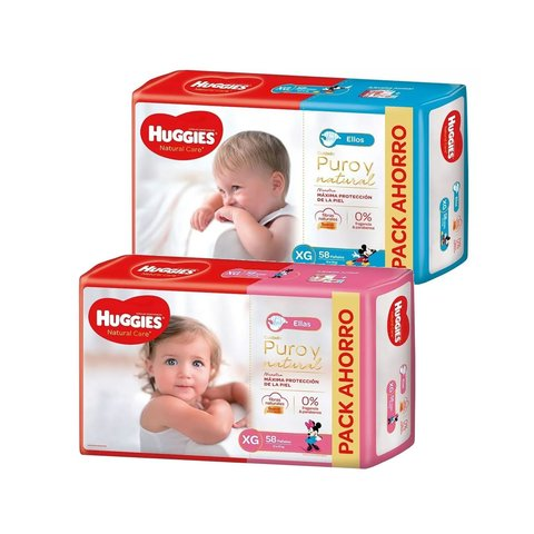 Huggies Natural Care Ellos y Ellas (G-XG-XXG) en internet