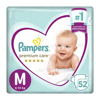 Pampers Pañales Premium Care M X 52 Unidades