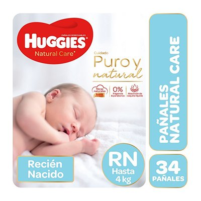 Pañales Natural Care Rn (hasta 4 Kg) X 34 Unidades