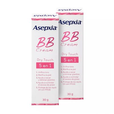 Asepxia Bb Cream Dry Touch 5 Beneficios En 1 30grs X 2 Unid