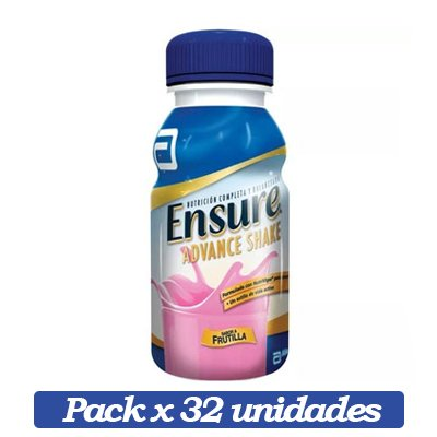 Ensure Advance Shake X 32 Unidades De Frutilla X 237ml C/u