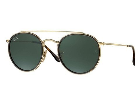 f18fbe2bd RAY-BAN RB3647N 001 - ROUND DOUBLE BRIDGE - 51-22 - DOURADO / VERDE
