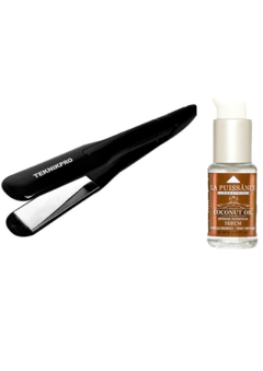 Combo Planchita De Pelo Profesional Night Magic Ion Titanium Teknikpro + Serum de Coco La Puissance 30ml