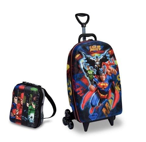 1104846fe Mochila Escolar 3d Com Rodinhas E Lancheira Maxtoy Superman