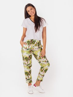 Pant Estampado Tropical Poplin Crudo - Elepants
