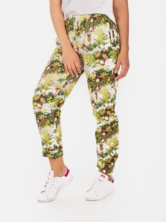 Pant Estampado Tropical Poplin Crudo