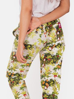 Pant Estampado Tropical Poplin Crudo en internet