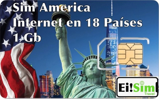 Chip Estados Unidos, America, Caribe 1 GB Solo Internet. (WhatsApp, Instagram, Facebook, twitter, Snapchat, Hotmail, google maps, etc.)