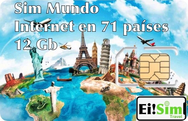 Chip mundo - 71 paises- 12 GB Internet (instagram, whatsapp, facebook, google maps, uber,etc.)