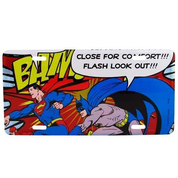 Placa de Metal Decorativa Batman e Superman Dc Comics
