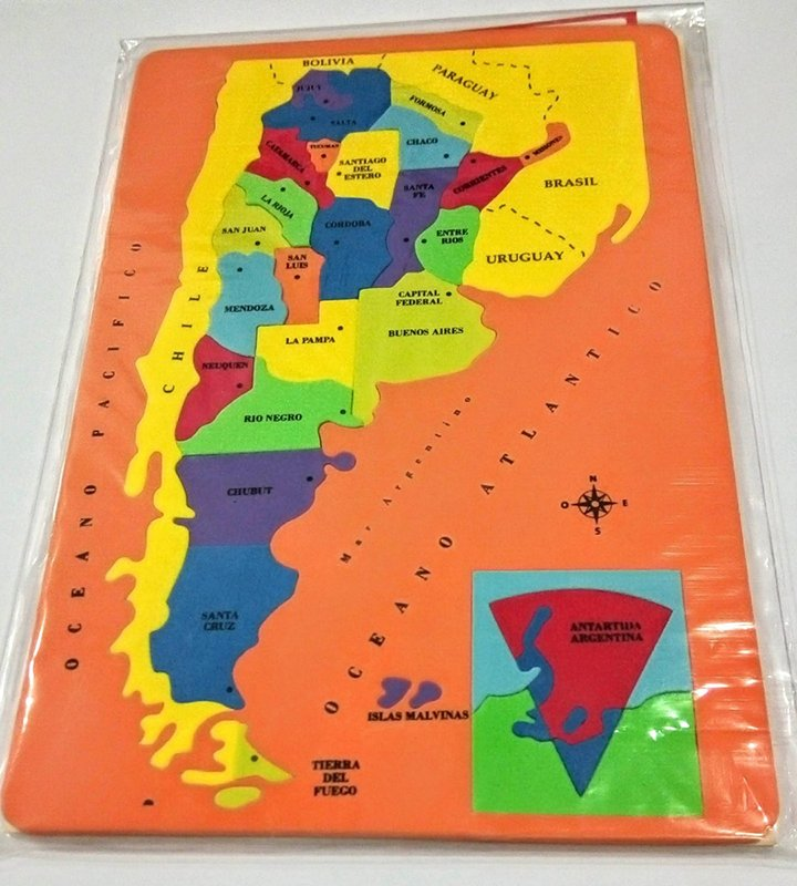 Mapa Rompecabeza Argentina En Goma Eva Libreria Lerma