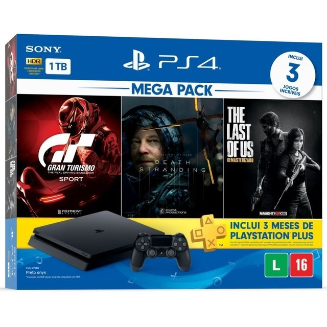 PLAYSTATION 4 SLIM 1 TB - Gran Turismo + Death Stranding + The Last of Us + PSN