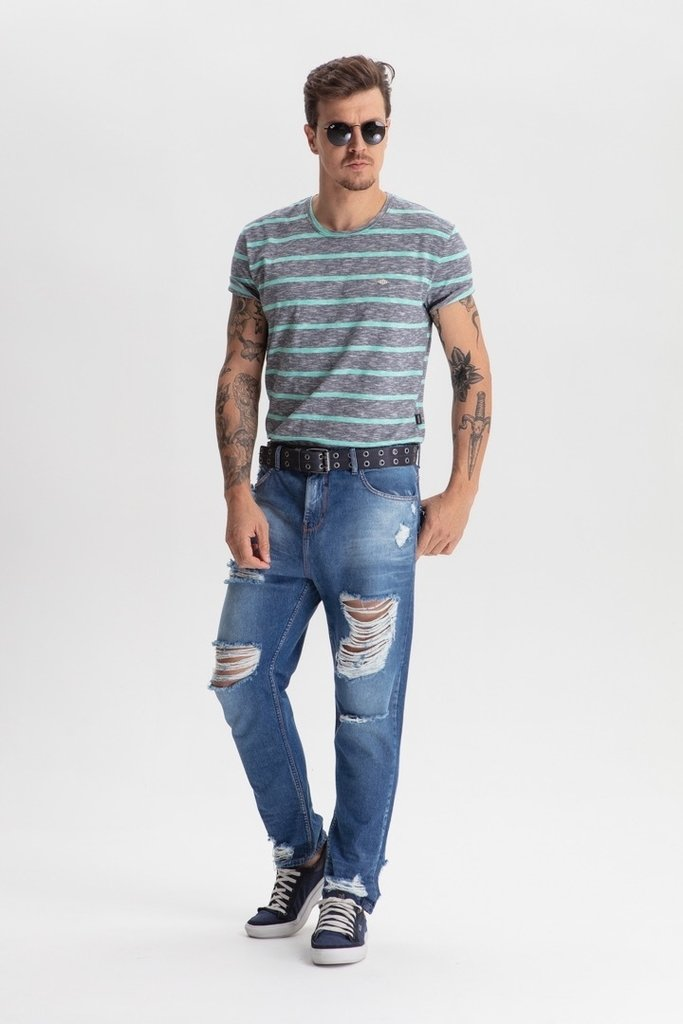 Calça Jeans Taper Slim Destroyed