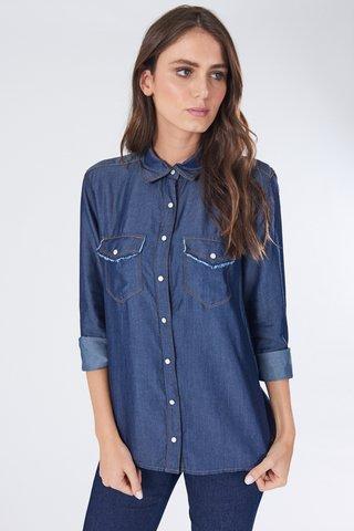 b2e53f80b Camisa Manga Longa Jeans Bolsos Duplos