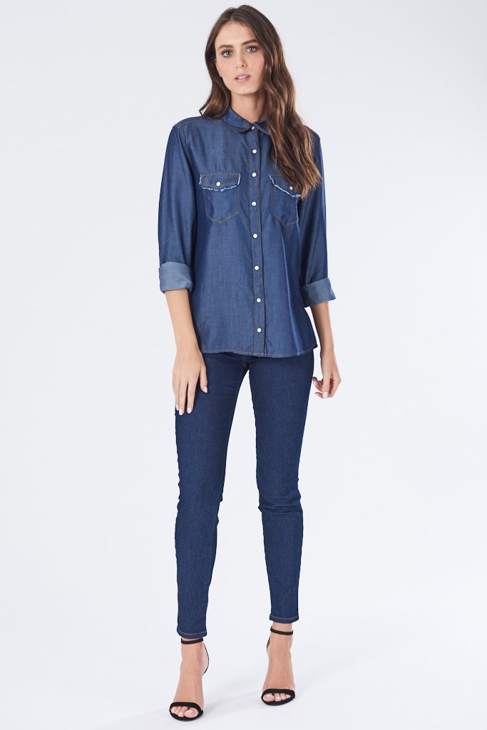 198d8abf5 Camisa Manga Longa Jeans Bolsos Duplos Camisa Manga Longa Jeans Bolsos  Duplos - comprar online ...