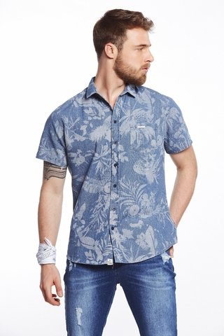 Camisa Jeans Estampada Resort